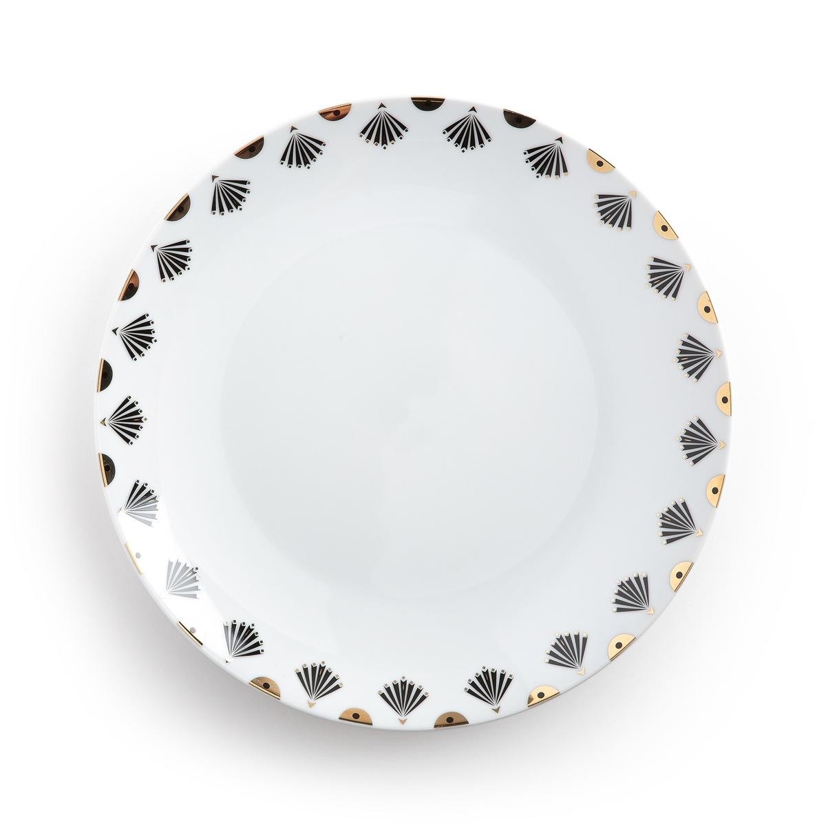 Комплект из 4 плоских тарелок, MELLAHОписание:4 тарелки плоские Mellah . Тарелки Mellah из красивого белого фарфора придадут изысканность на вашем столе .Характеристики 4 плоских тарелок Mellah : •  Фарфор с декором •  Сундучок с 4 тарелками •  Подходят для посудомоечной машины, не подходят для микроволновой печи Размеры 1 плоской тарелки Mellah   : •  Диаметр 26,7 смНайдите всю коллекцию Art de la table Mellah на сайте laredoute .ru<br><br>Цвет: рисунок + белый<br>Размер: единый размер