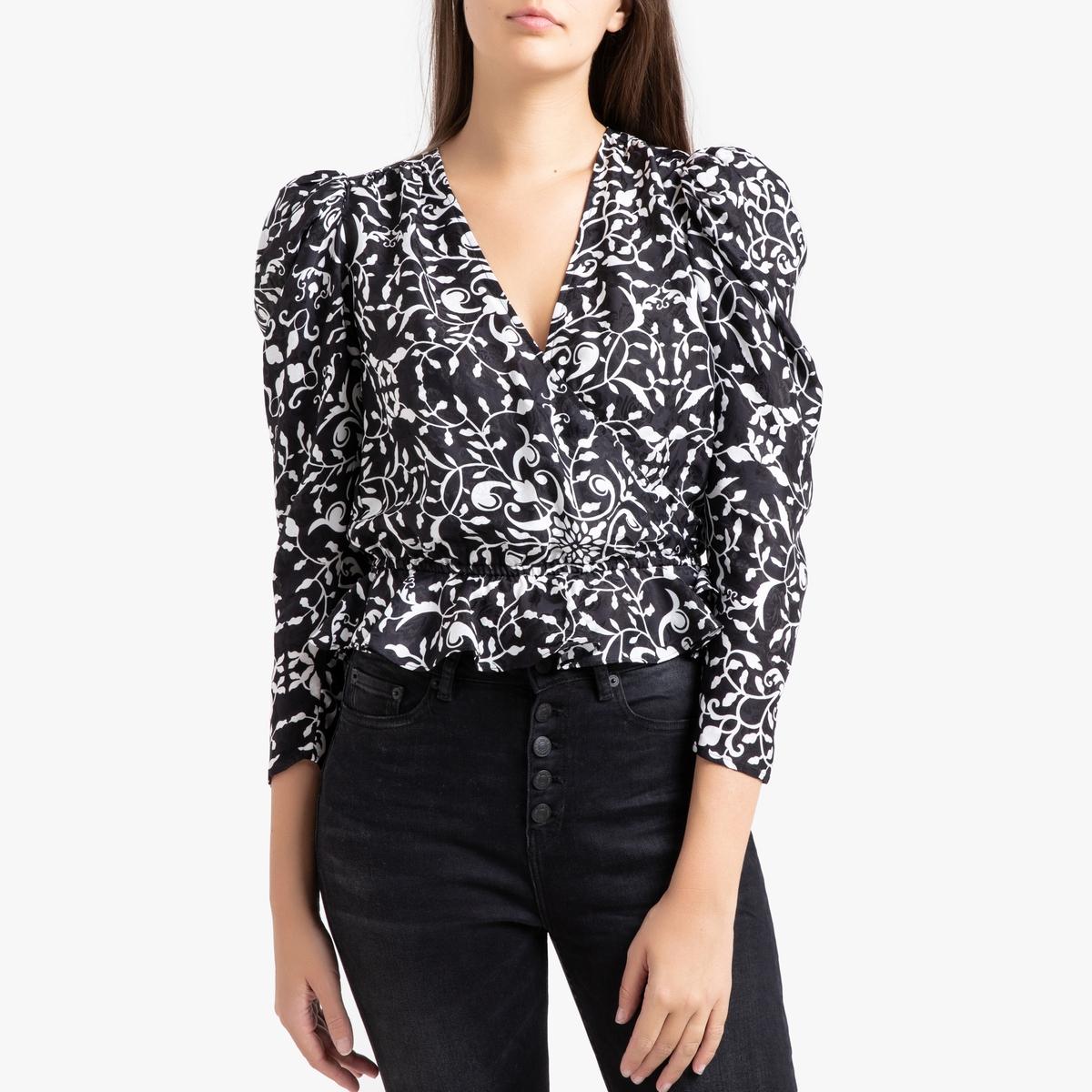 Блузка La Redoute С рисунком и длинными рукавами 3(L) черный блузка женская oodji collection цвет черный красный 24201012 26256 2945f размер l 48