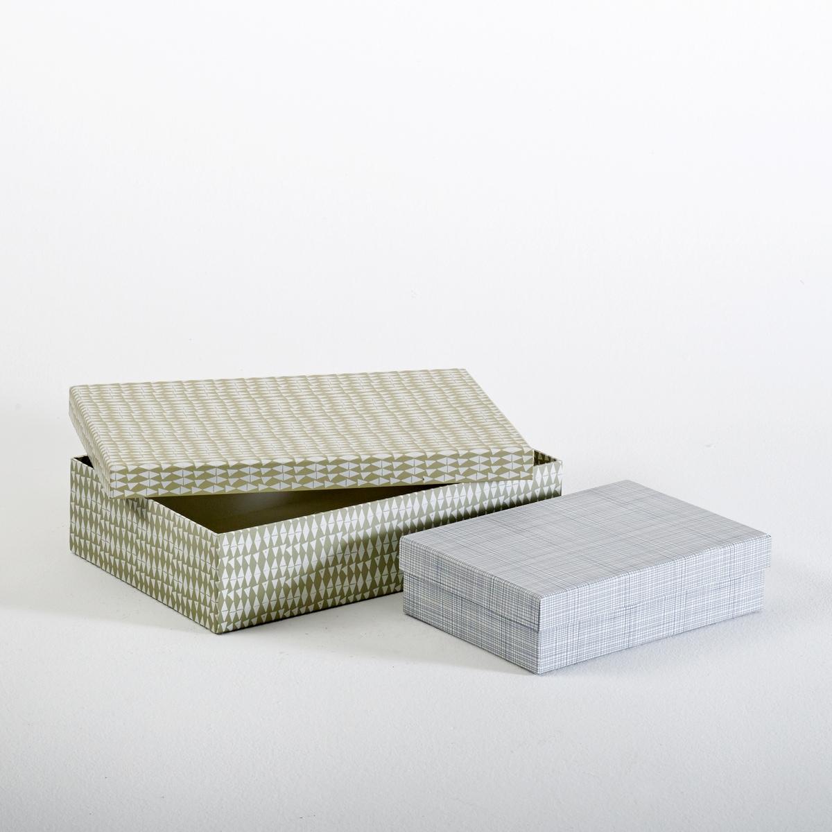 2 короба для вещейОписание коробов для вещей :Декоративный принт : геометрические микро-мотивы Характеристики коробов для вещей :100% картон С крышкойРазмеры коробов для вещей :Короб 1 : 35 x 23 x 8.5 см Короб 2 : 24.5 x 17 x 6.5 см<br><br>Цвет: разноцветный<br>Размер: единый размер