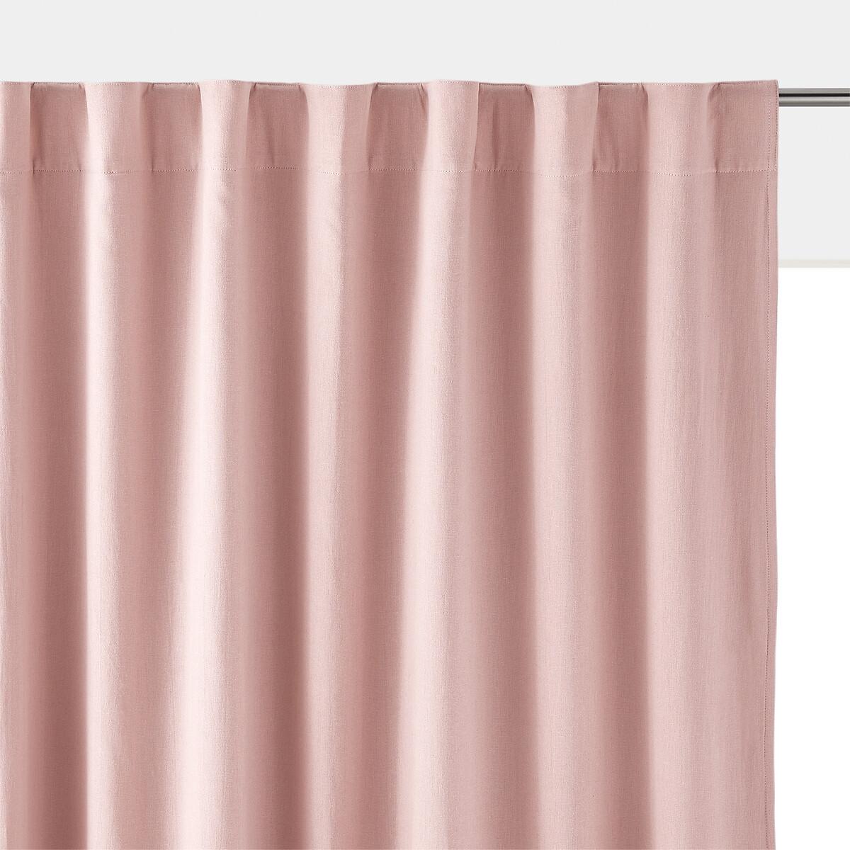 Занавеска LaRedoute Затемняющая из льна и вискозы Odorie 350 x 135 см розовый