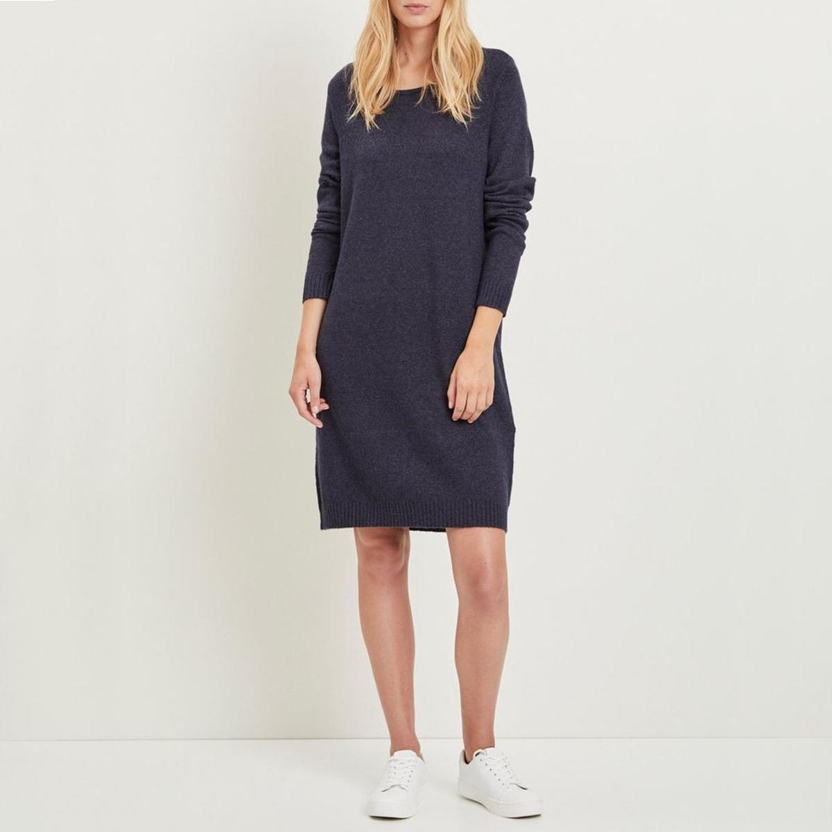 Платье-пуловер с круглым вырезом и длинными рукавами пуловер свободный с рукавами 3 4