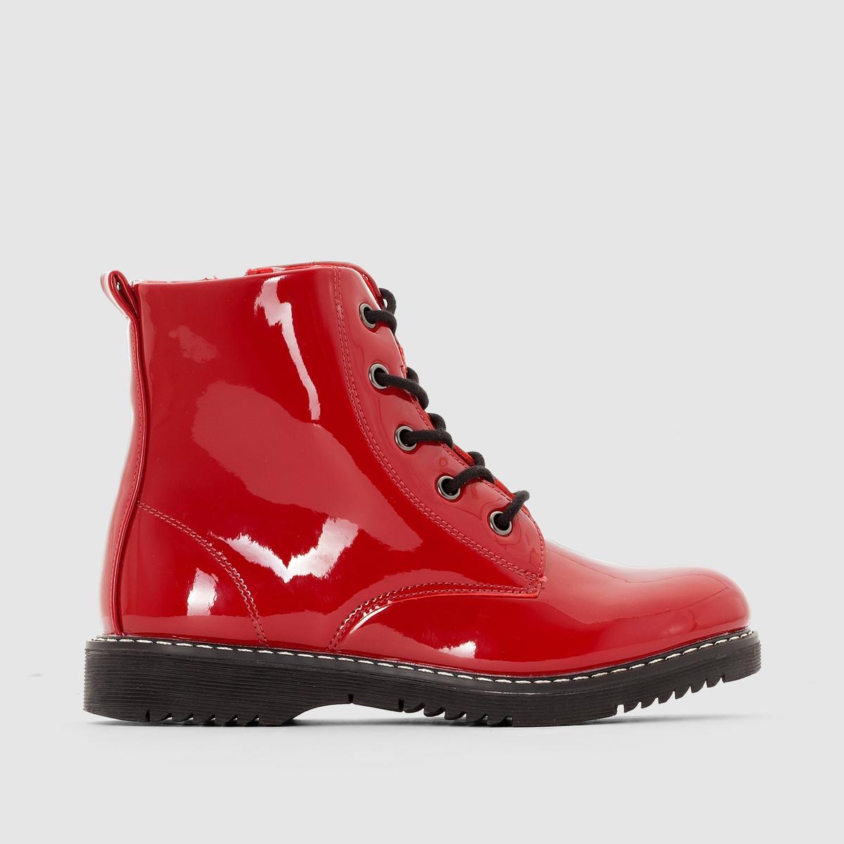 Ботинки лакированные на шнуровке.Застежка: шнуровка и молния сбоку до 35 размера.<br><br>Цвет: красный лак<br>Размер: 26