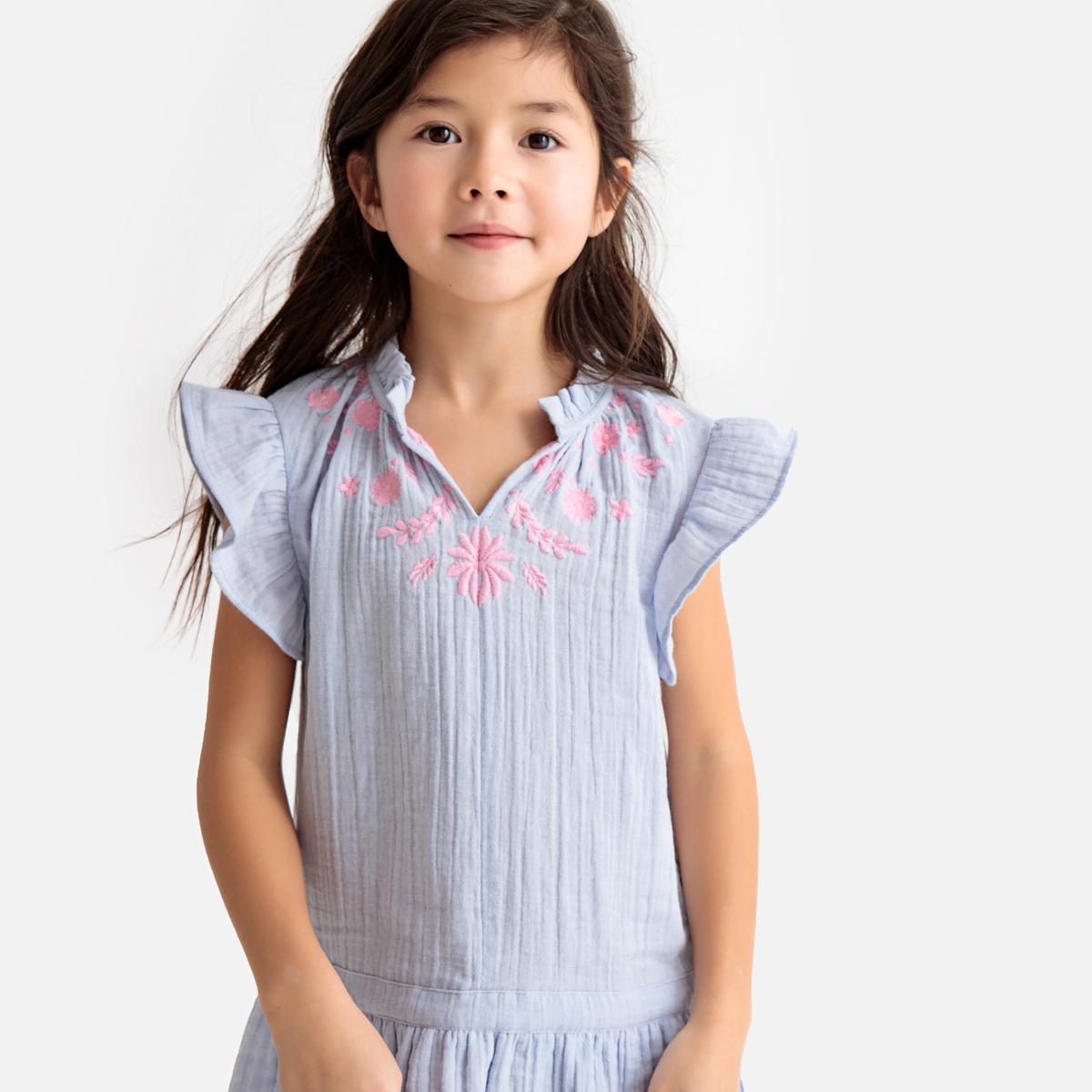 Платье La Redoute С вышивкой без рукавов 8 лет - 126 см синий юбка la redoute расклешенная с принтом 8 лет 126 см другие