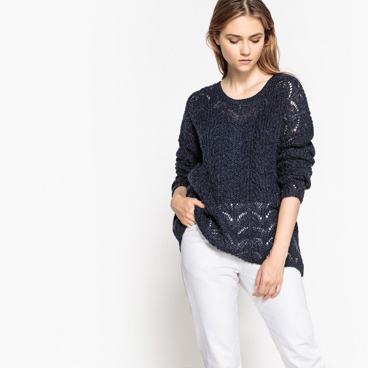 Пуловер ажурный с застежкой на пуговицы сзади, из шерсти ажурный пуловер quelle ajc 787037