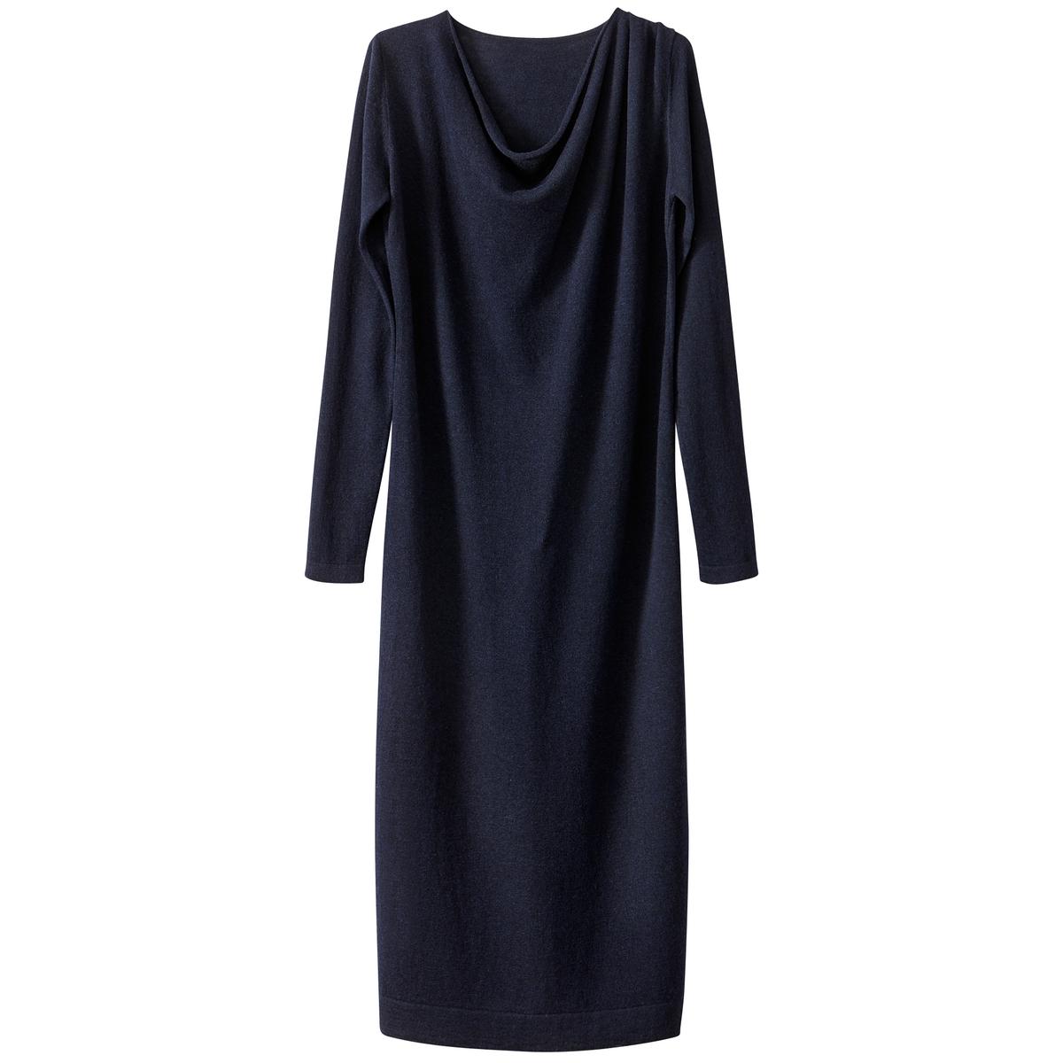 Платье трикотажное средней длины с воротником-качелями и разрезом снизу