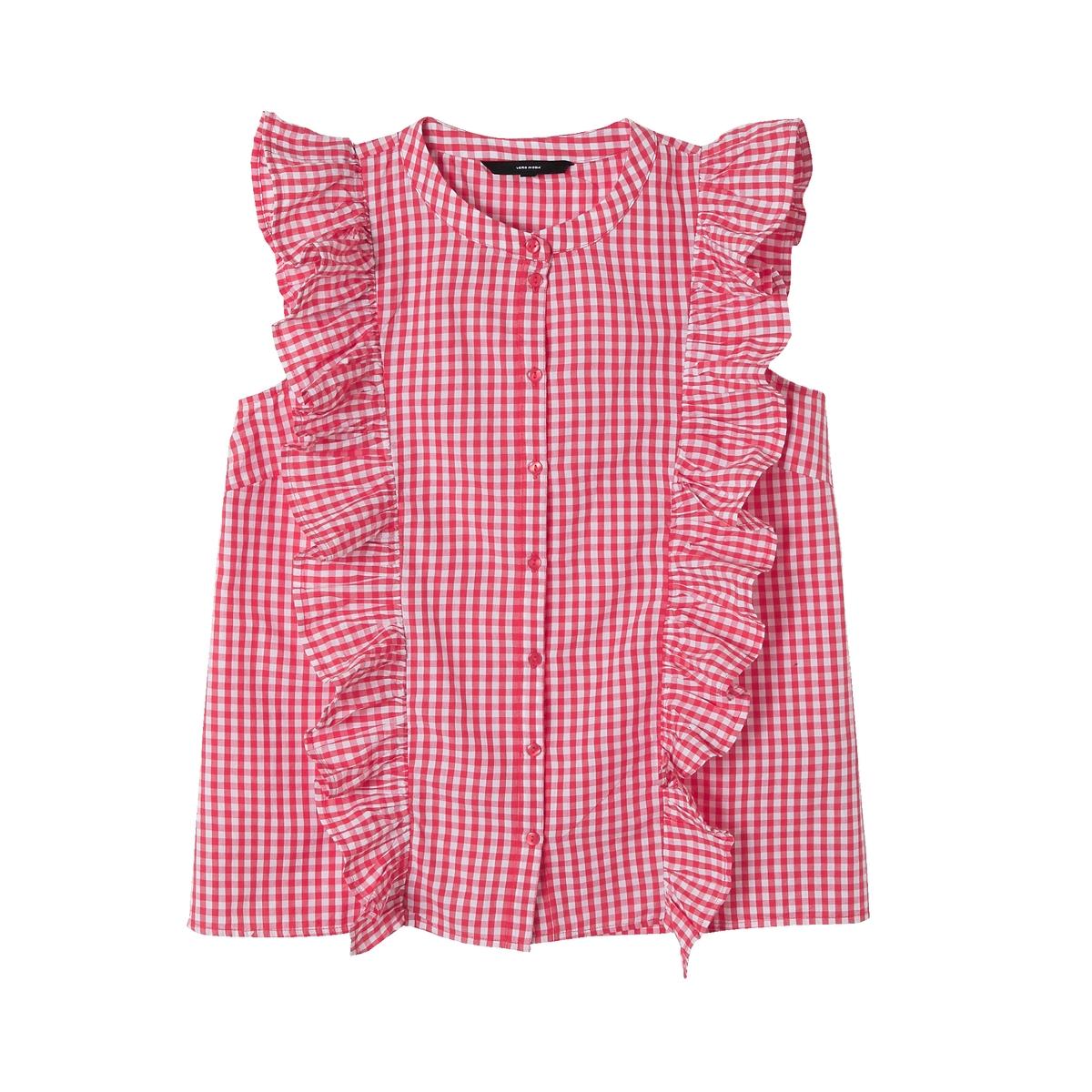 Блузка с воланами, с рисунком, без рукавов блузка с рисунком и накладными воланами
