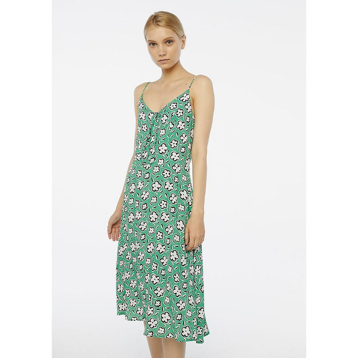 Платье La Redoute С цветочным рисунком на тонких бретелях с V-образным вырезом и бантиком S зеленый топ la redoute на тонких бретелях с низом с воланом 12 зеленый