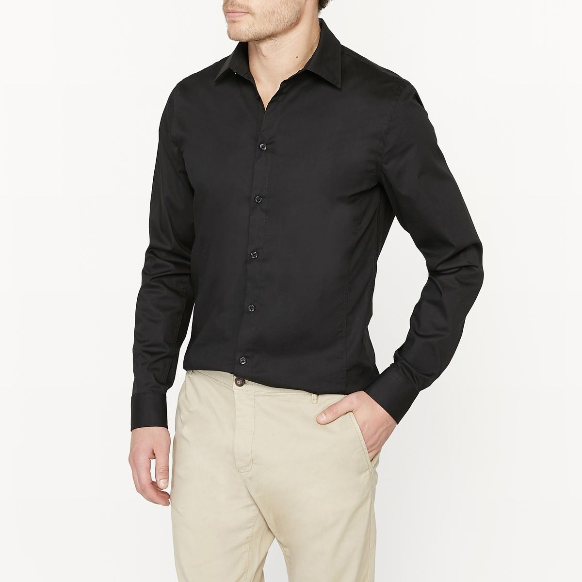 Рубашка супер узкого покрояРубашка супер узкого покроя. Длинные рукава с пуговицами внизу. Итальянский воротник со свободными кончиками. Застежка на пуговицы спереди.Состав и описание:Основной материал: 98% хлопка, 2% эластанаДлина: 79 смУход:Машинная стирка при 30 °CСтирать с вещами схожих цветов с изнаночной стороныОтбеливание запрещеноГлажка на умеренной температуре  Сухая (химическая) чистка запрещенаБарабанная сушка при умеренной температуре<br><br>Цвет: белый,черный<br>Размер: 47/48.45/46.43/44.41/42.35/36.47/48.45/46.41/42