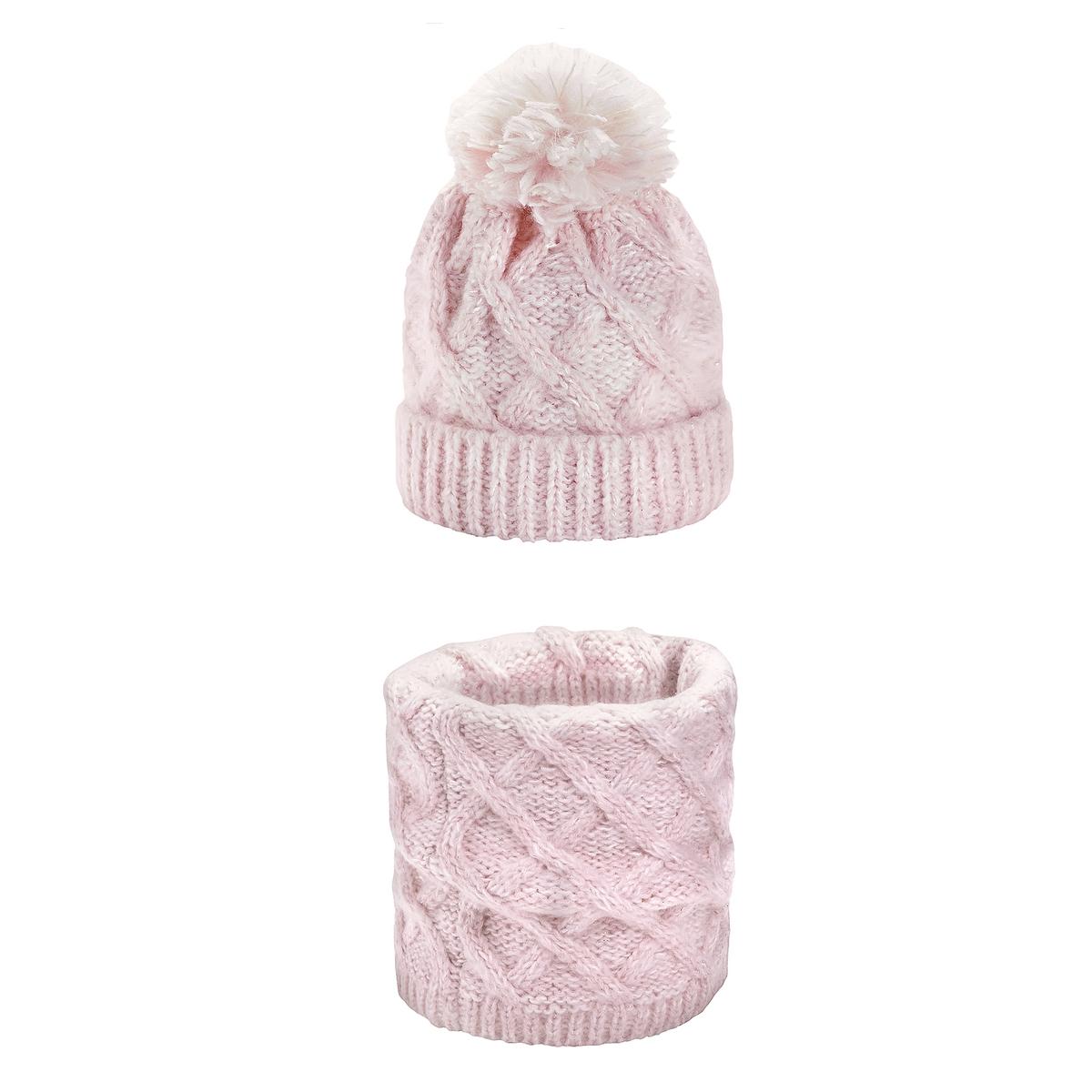 цены Комплект из шапочки и шарфа La Redoute La Redoute 56 см розовый