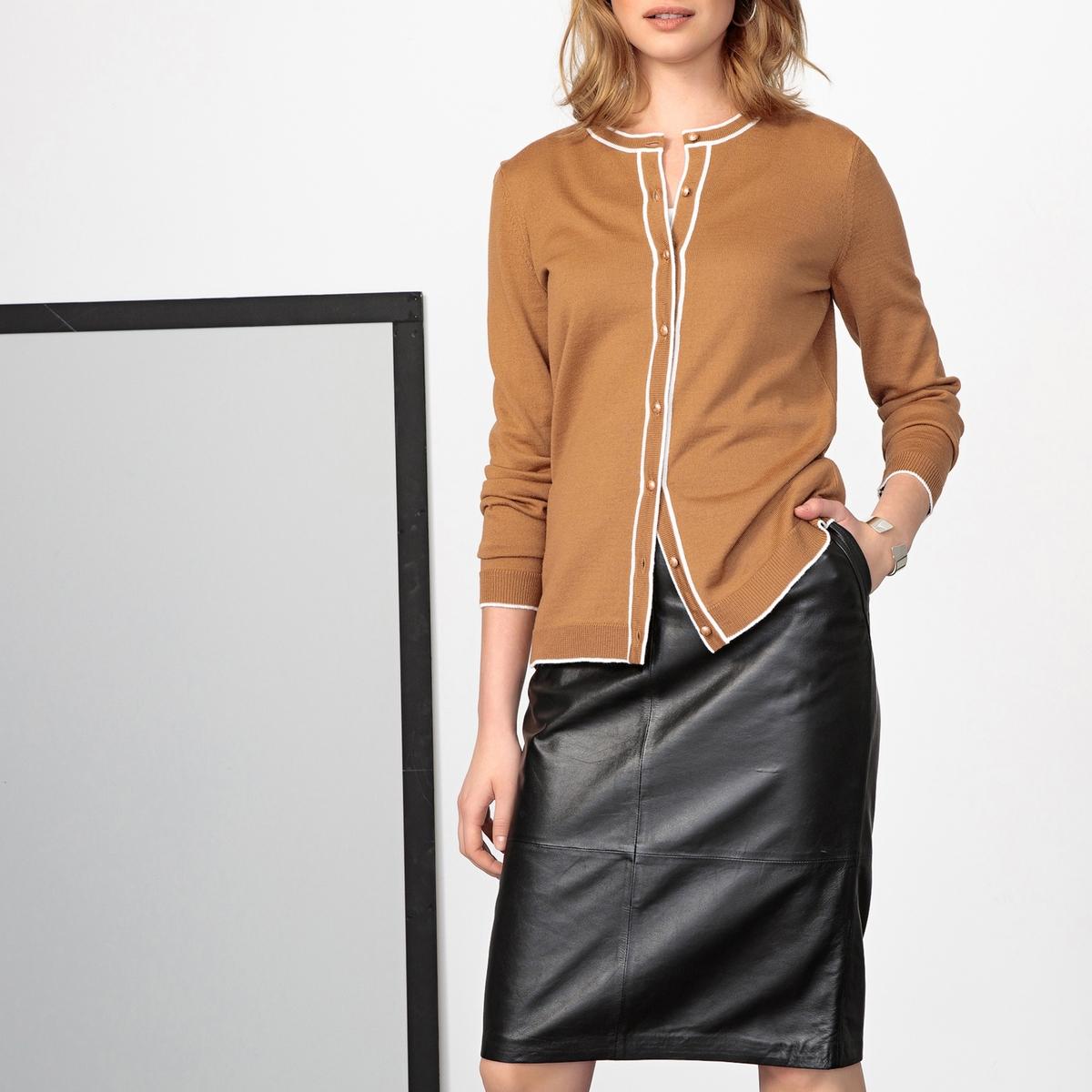Imagen secundaria de producto de Cárdigan 50% lana merina con cuello redondo, abotonada - Anne weyburn