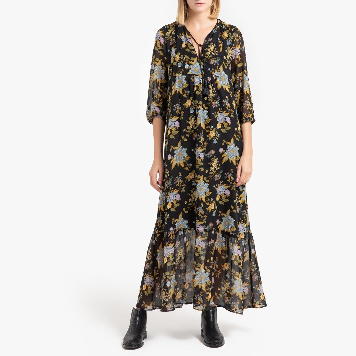 купить Платье La Redoute Длинное с рисунком и рукавами 40 (FR) - 46 (RUS) черный дешево