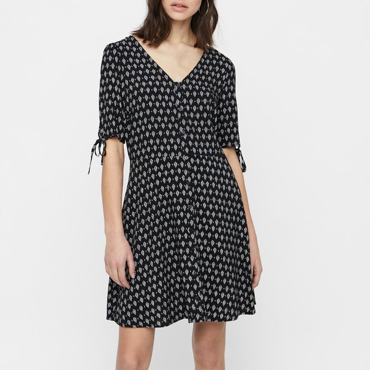 Платье La Redoute С цветочным рисунком и короткими рукавами Simply Easy XS черный платье la redoute с цветочным рисунком короткими рукавами и воланами на груди s оранжевый