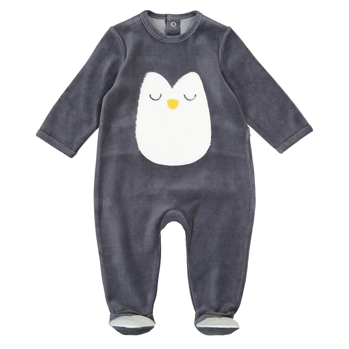 Пижама LaRedoute С носочками из велюра 0 мес - 3 года 0 мес. - 50 см серый пижама laredoute с носочками из велюра 0 мес 3 года 3 мес 60 см серый