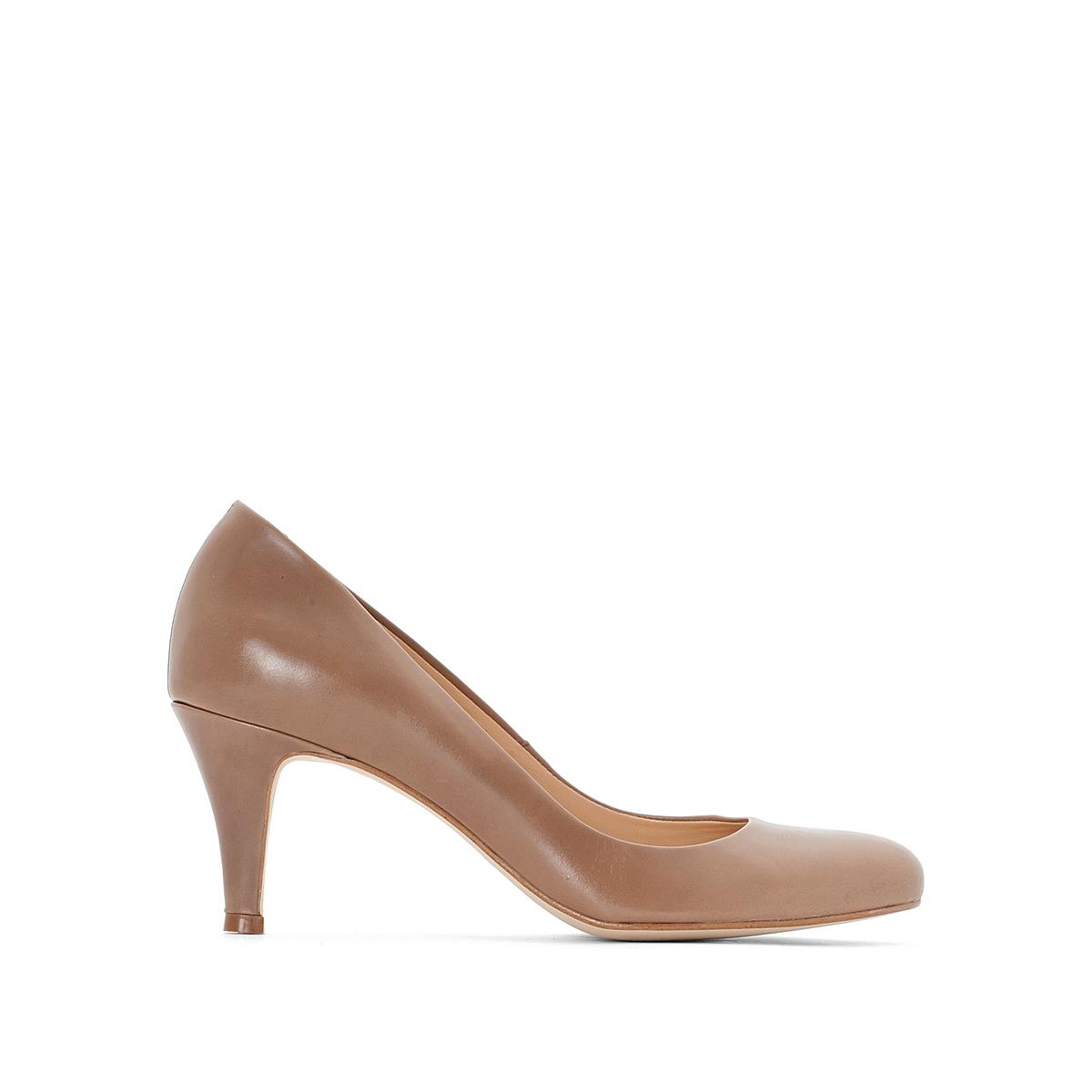 Туфли кожаные 10705Верх : Кожа   Подкладка : Кожа   Стелька : Кожа   Подошва : эластомер   Высота каблука : 5 см   Форма каблука : тонкий каблук   Мысок : закругленный   Застежка : без застежки<br><br>Цвет: серо-коричневый<br>Размер: 39