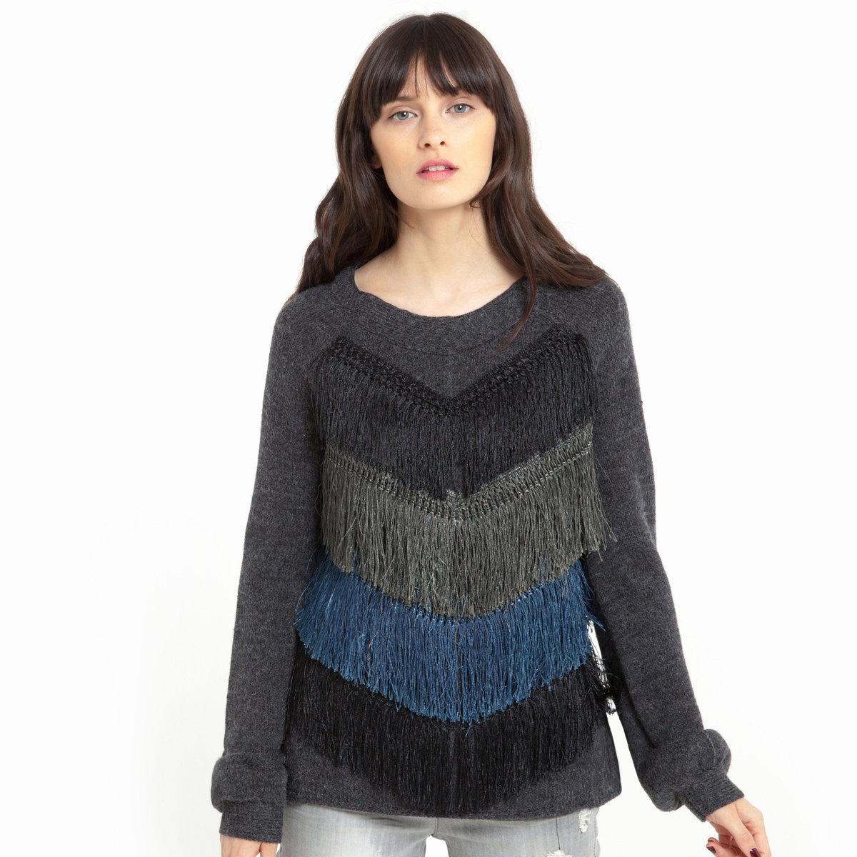 Пуловер из трикотажа с V-образным вырезом и бахромой спередиПуловер из трикотажа: 70% акрила, 20% шерсти, 10% шерсти альпаки. Длинные рукава, V-образный вырез. Бахрома спереди. Однотонная спинка.Длина 62 см<br><br>Цвет: темно-серый<br>Размер: 34/36 (FR) - 40/42 (RUS)
