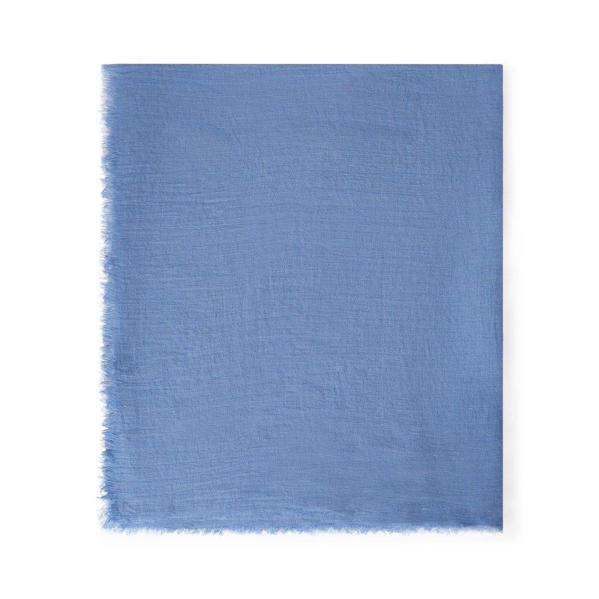 Foulard uni bleu à franges