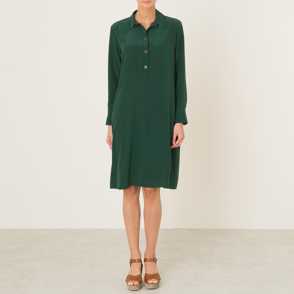 Платье DEMETRAПлатье MOMONI - модель DEMETRA из струящегося 100% шелка. Рубашечный воротник со свободными кончиками. Длинные рукава с пуговицами внизу. Застежка на пуговицы спереди. 2 прорезных кармана. Состав и описание :Материал : 100% шелкМарка : MOMONI<br><br>Цвет: зеленый<br>Размер: XL