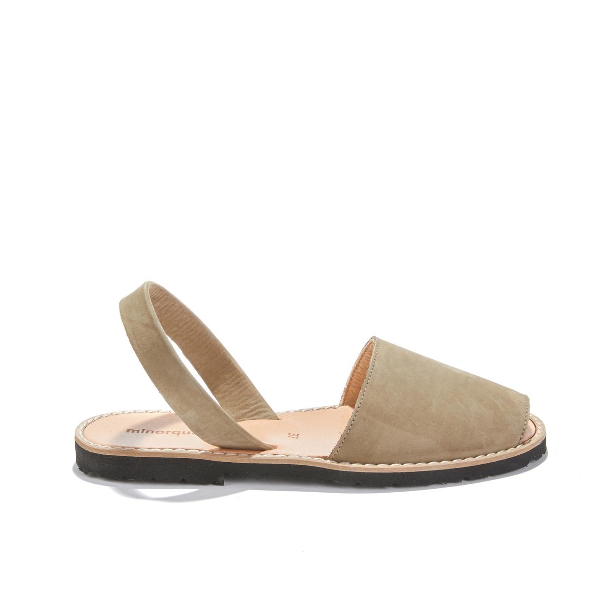 Босоножки кожаные на плоском каблуке AVARCA NUBUCK