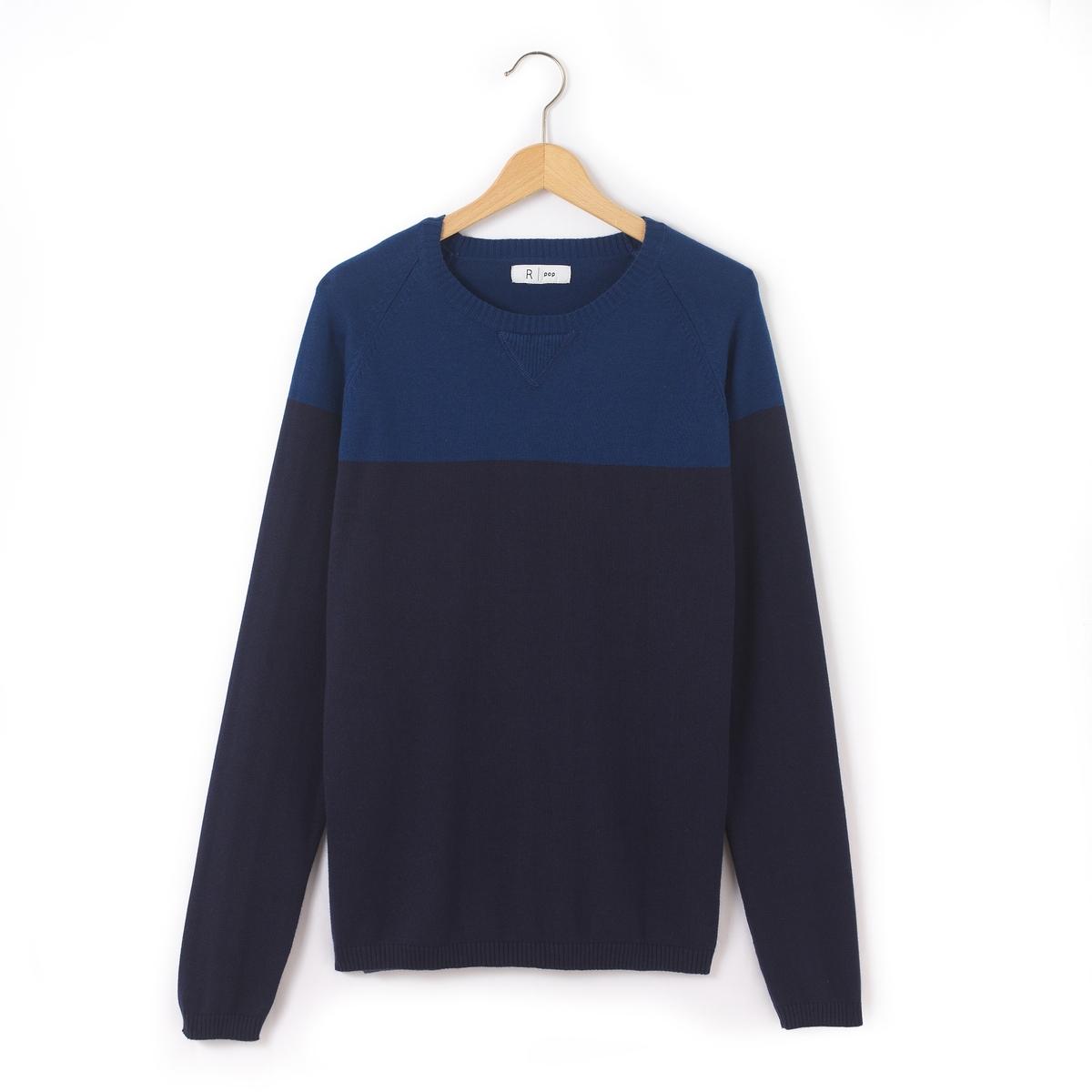 Пуловер двухцветный с круглым вырезом, 10-16 лет