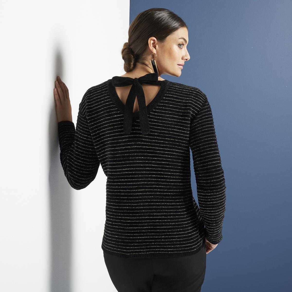 Imagen principal de producto de Jersey a rayas de punto grueso y lacito detrás - Anne weyburn
