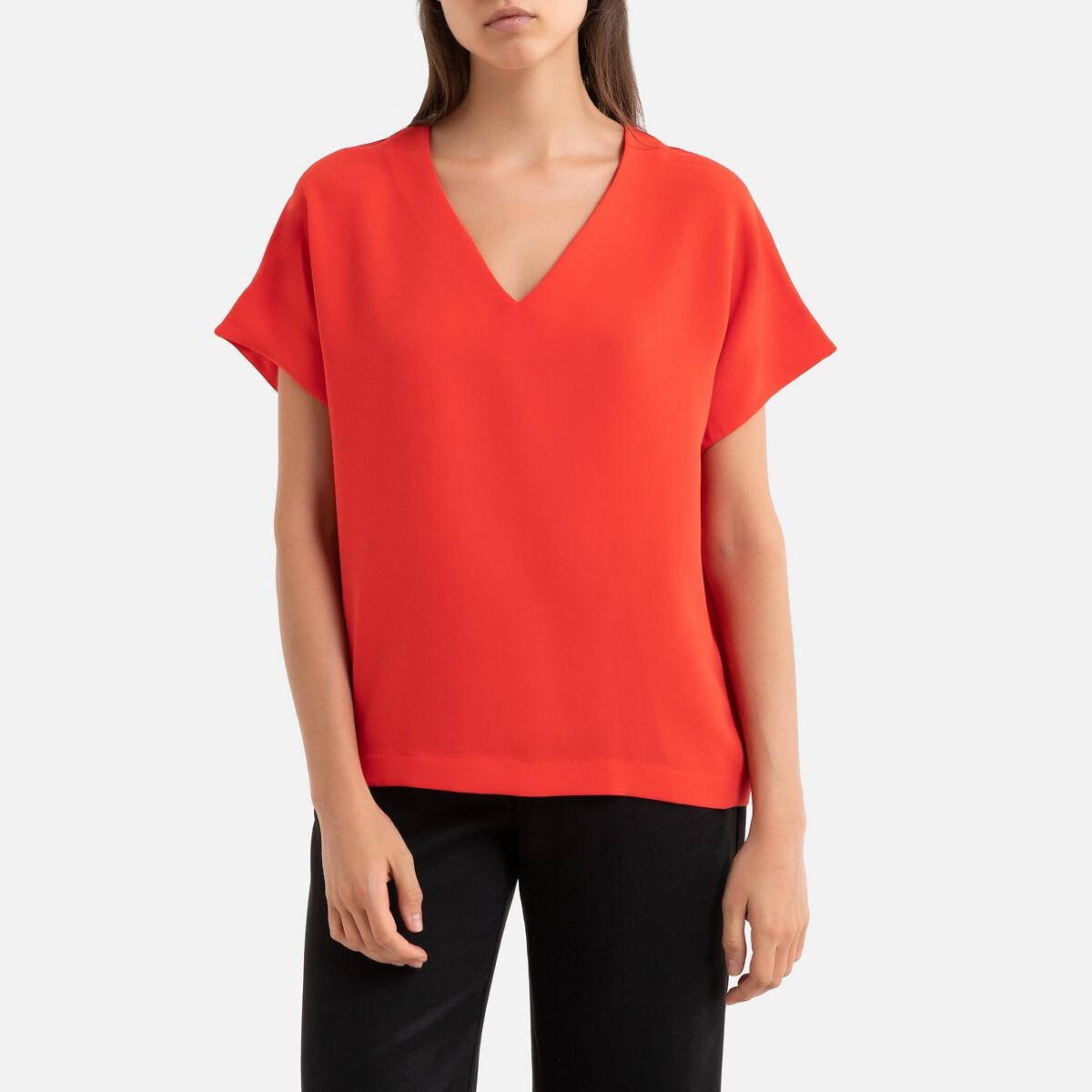 Блузка La Redoute С V-образным вырезом и короткими рукавами BOLIVIE M оранжевый