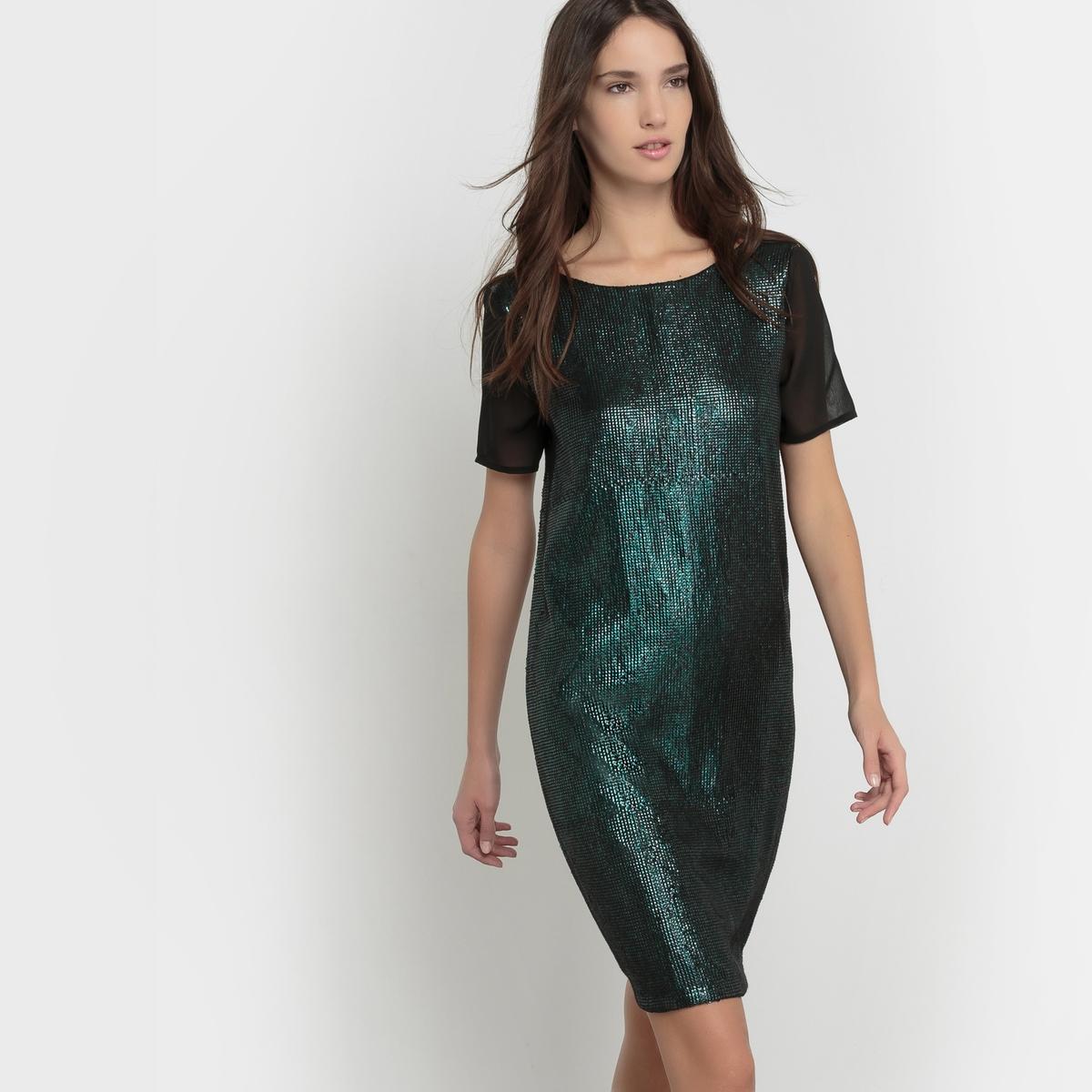 Платье с блестками, вырез сзадиПлатье с блестками. Прямой покрой. Закругленный вырез спереди и сзади. Короткие рукава из вуали. Основная часть с яркими блестками. Состав и описаниеМатериал : 100% полиэстерПодкладка : 100% полиэстерДлина : 92 смМарка : Mademoiselle RУходРучная стирка с изнаночной стороныГладить при очень низкой температуреНе гладить декоративные элементыСушить на горизонтальной поверхности в расправленном состоянии<br><br>Цвет: темно-зеленый<br>Размер: 36 (FR) - 42 (RUS)