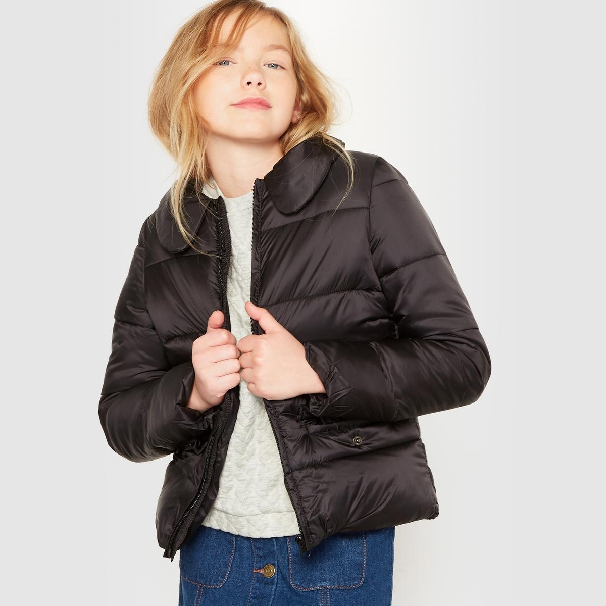 Куртка стёганая, лёгкая, с отложным воротником,  10-16 летЛегкая стеганая куртка на тонком ватине и с водоотталкивающей пропиткой.  Прямой покрой. Закругленный отложной воротник. Застежка на молнию. 2 передних кармана с клапаном на кнопках .                                Состав и описание :                       Материал:         100% полиамид.                      Подкладка     100% полиэстер                      Наполнитель: 100% полиэстер                     Марка         R essentiel                                             Уход :                      Машинная стирка при 30 °C с вещами схожих цветов.                      Стирать и сушить с изнанки.                      Машинная сушка на умеренном режиме.                      Не гладить.<br><br>Цвет: розовый,черный