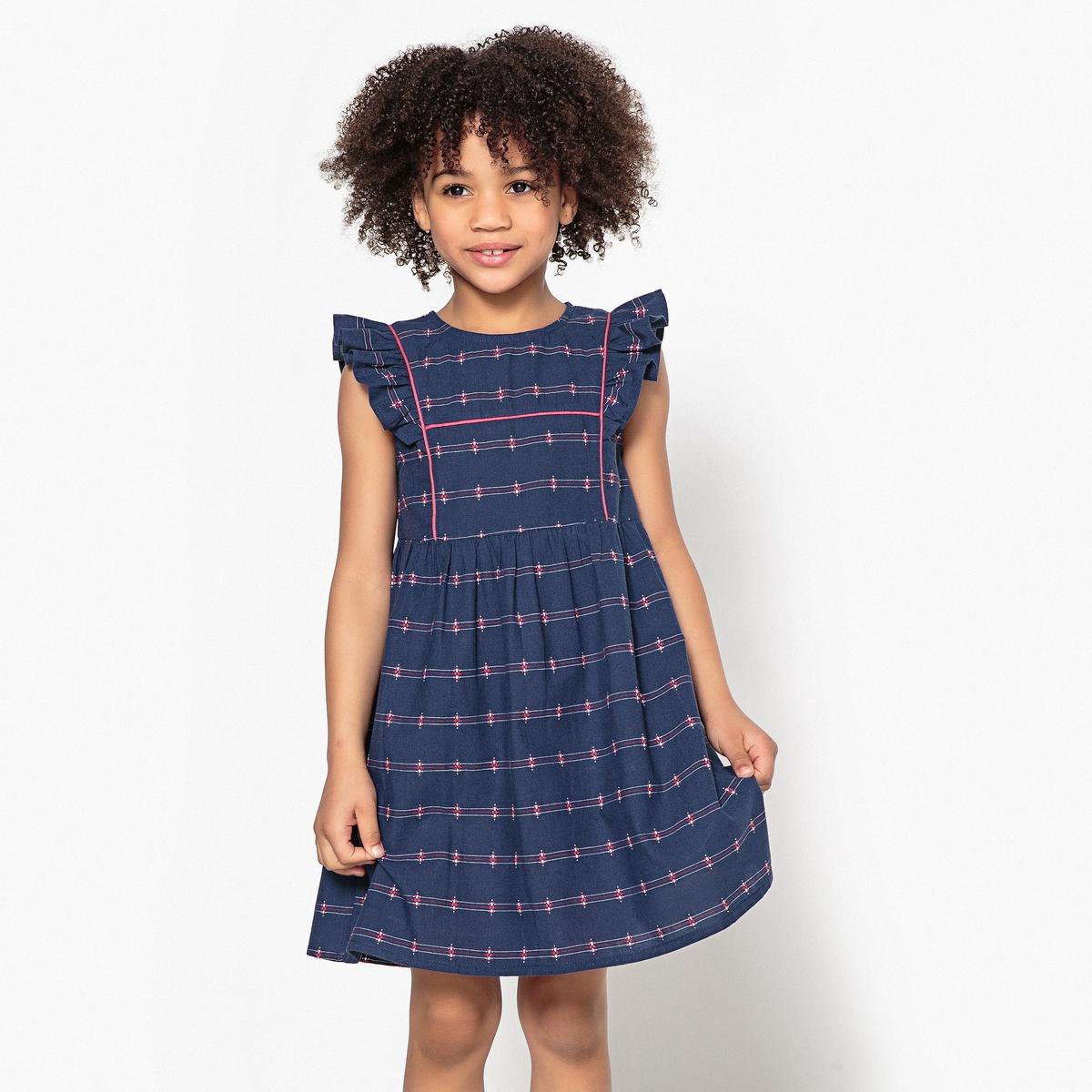 Платье с рукавами и воланами 3-12 лет футболка с вышивкой и воланами 3 12 лет