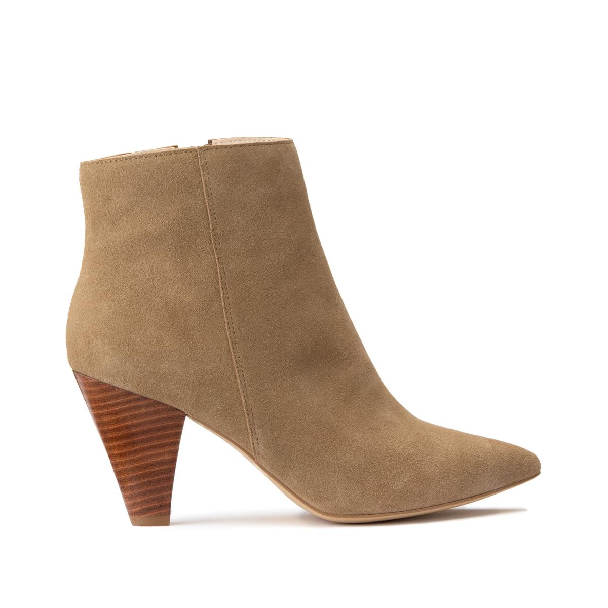 Ботинки La Redoute Из кожи на высоком каблуке с заостренным мысом 40 бежевый