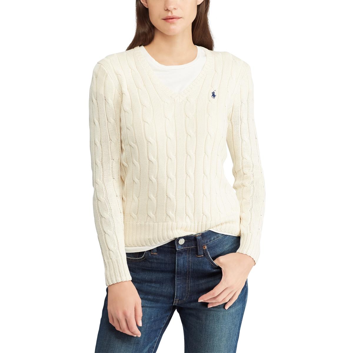 цена Пуловер La Redoute С v-образным вырезом из витого трикотажа L бежевый онлайн в 2017 году