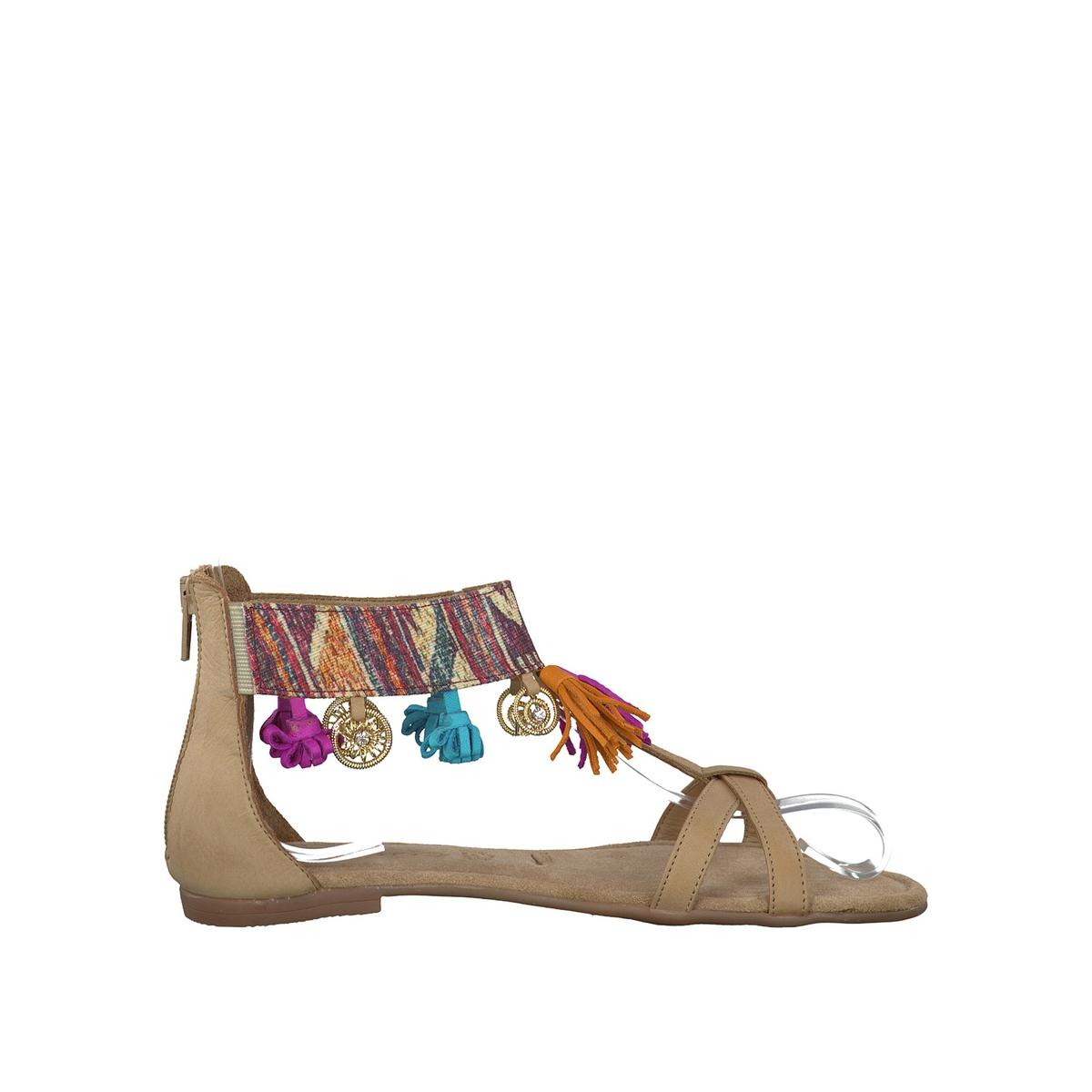 Сандалии кожаные 28100-28Верх/Голенище : кожа и текстиль  Подкладка : кожа  Стелька : кожа  Подошва : синтетика   Форма каблука : плоский каблук  Мысок : закругленный мысок  Застежка : молния<br><br>Цвет: бежевый,синий деним