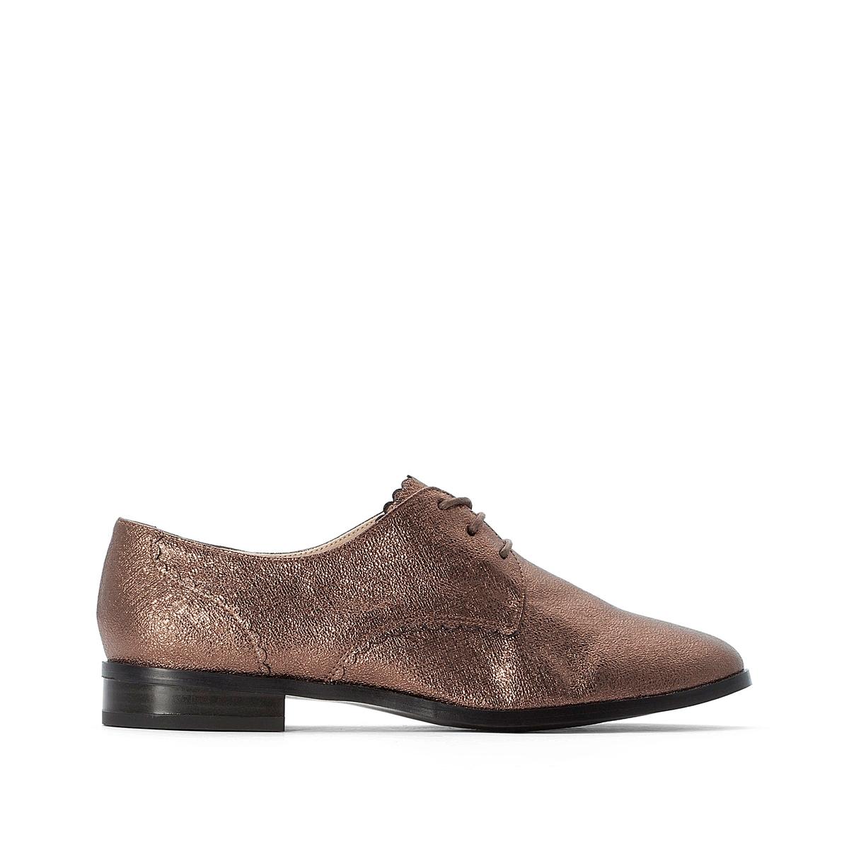 цена Ботинки-дерби La Redoute На плоском каблуке с металлическим блеском 39 каштановый онлайн в 2017 году