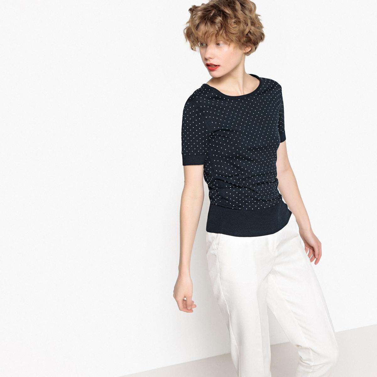 Пуловер в горошек с круглым вырезом и короткими рукавами