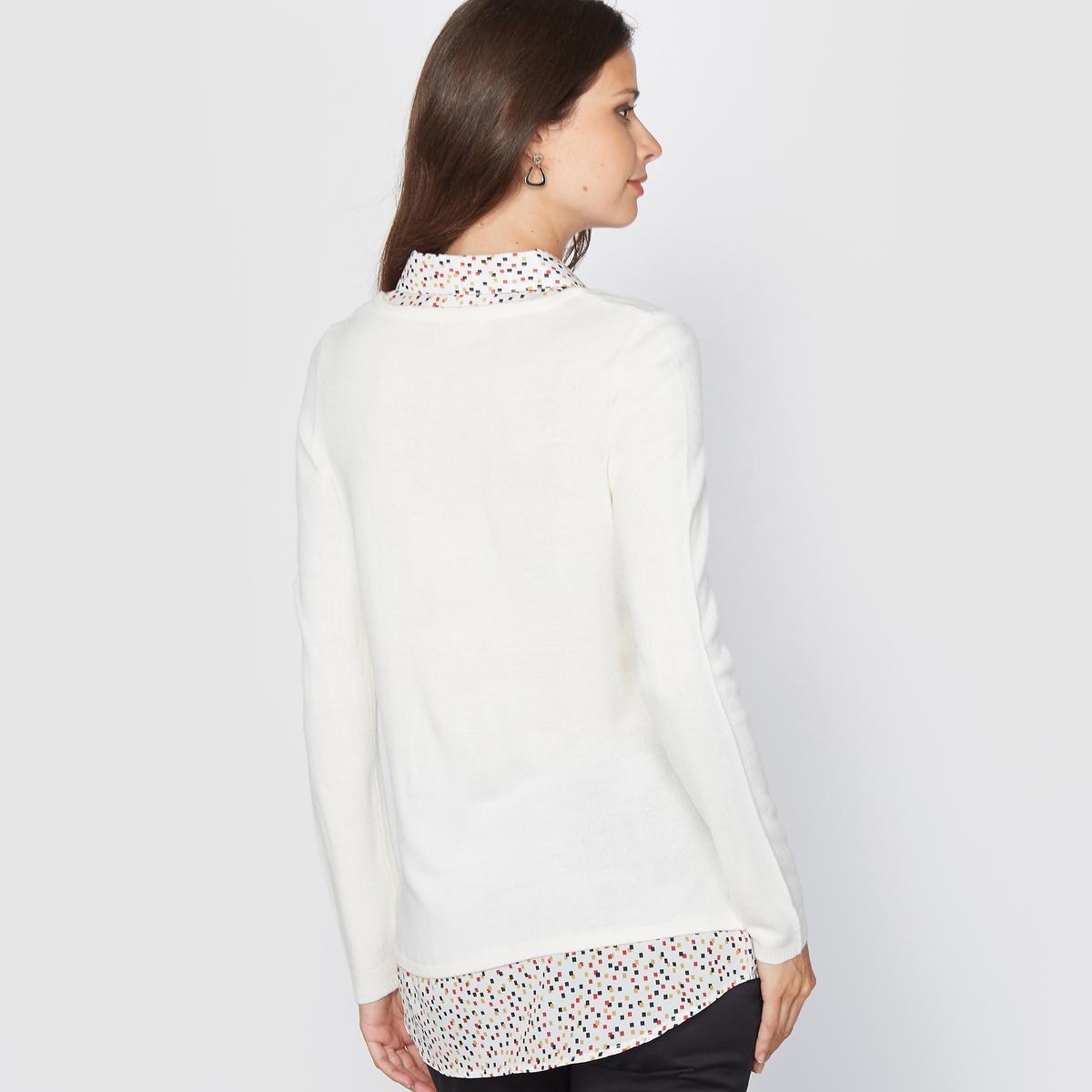 Пуловер 2 в 1, прикосновение кашемираПуловер-рубашка 2 в 1, выполнен из очень качественного трикотажа, мягкого на ощупь, словно кашемир. Рубашечный воротник. Манишка с рюшами. Рубашка с рисунком из крепа, 100% полиэстера. Приспущенные плечевые швы. Края связаны трикотажной резинкой.Состав и описание:Материал: трикотаж, 100% акрила.Длина пуловера 58 см, общая. длина 68 см. Марка: Anne WeyburnУход:Стирать в машинке при 30° в умеренном режиме, вывернув изделие наизнанку.Гладить на низкой температуре с изнанки.<br><br>Цвет: экрю<br>Размер: 50/52 (FR) - 56/58 (RUS)
