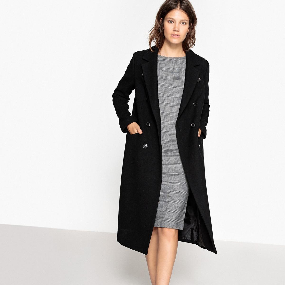 Пальто из меланжевой шерсти с двойной застёжкой на пуговицу пальто из шерстяного драпа 70