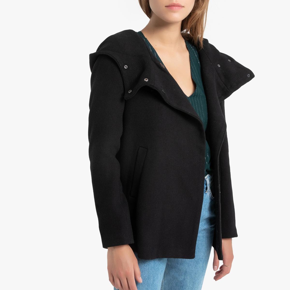 Пальто La Redoute Средней длины с капюшоном и воротником-стойкой M черный цены