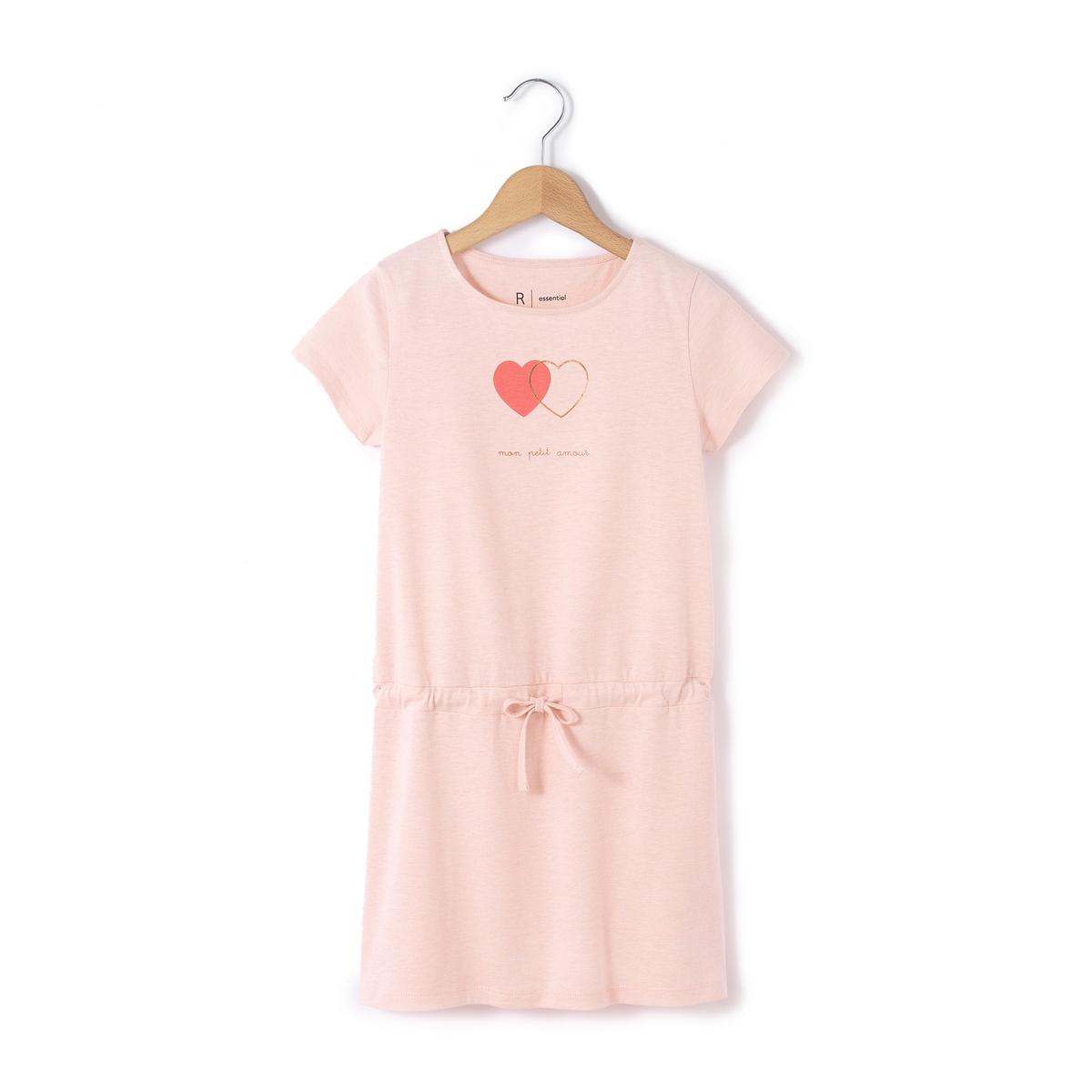 Платье с рисунком сплетенные сердца  3-12 лет. Короткие рукава
