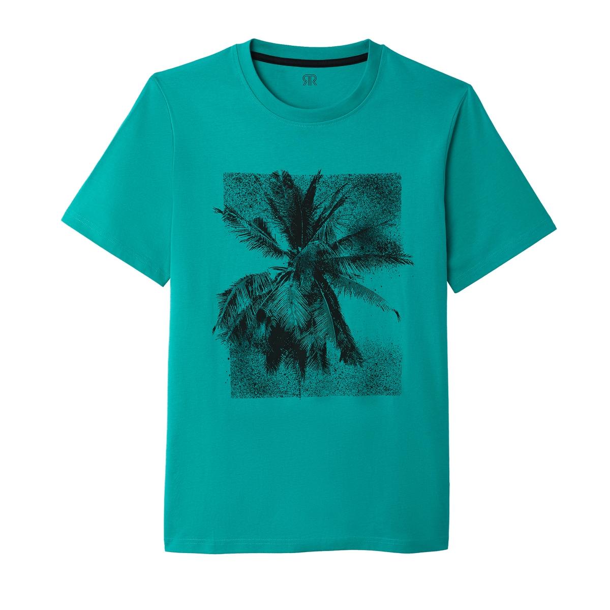 T-shirt de gola redonda, estampado palmeira no peito