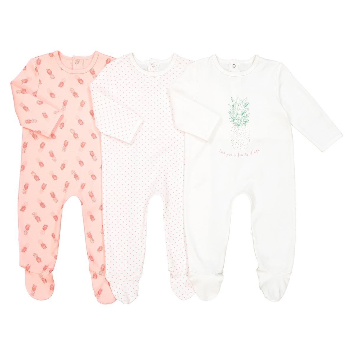 Комплект из 3 пижам из хлопка 0 мес. - 3 года Oeko TexОписание:3 пижамы с длинными рукавами и закрытыми носками. Ощущение комфорта и нежности до самого утра... Разрезы на кнопках облегчают надевание.Детали •  Комплект из 3 пижам : 2 пижамы с рисунком + 1 пижама с принтом. •  Длинные рукава. •  Круглый вырез. •  Носки с противоскользящими элементами для размеров от 12 месяцев  (74 см). Состав и уход •  Материал : 100% хлопок. •  Стирать с вещами схожих цветов при 40° в обычном режиме. •  Стирать и гладить с изнанки при низкой температуре. •  Деликатная сушка в машинке.Товарный знак Oeko-Tex® . Знак Oeko-Tex® гарантирует, что товары прошли проверку и были изготовлены без применения вредных для здоровья человека веществ.<br><br>Цвет: розовый+оранжевый+экрю<br>Размер: 3 года - 94 см.1 год - 74 см.3 мес. - 60 см.6 мес. - 67 см.0 мес. - 50 см.18 мес. - 81 см.2 года - 86 см.9 мес. - 71 см.1 мес. - 54 см