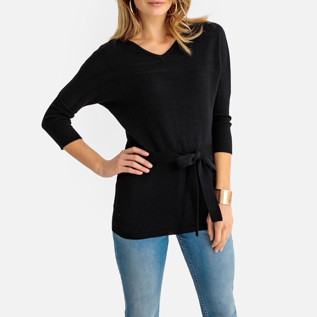 Пуловер La Redoute Длинный с V-образным вырезом из тонкого трикотажа 42/44 (FR) - 48/50 (RUS) черный