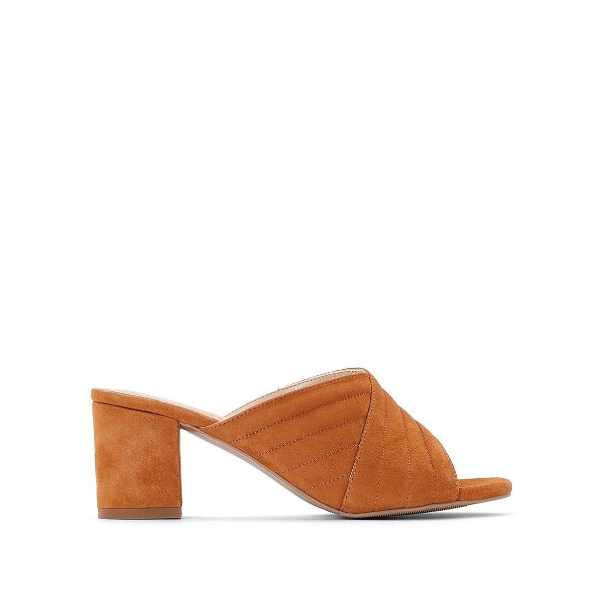 Туфли La Redoute Без задника кожаные 36 каштановый туфли без задника кожаные с блестящими деталями