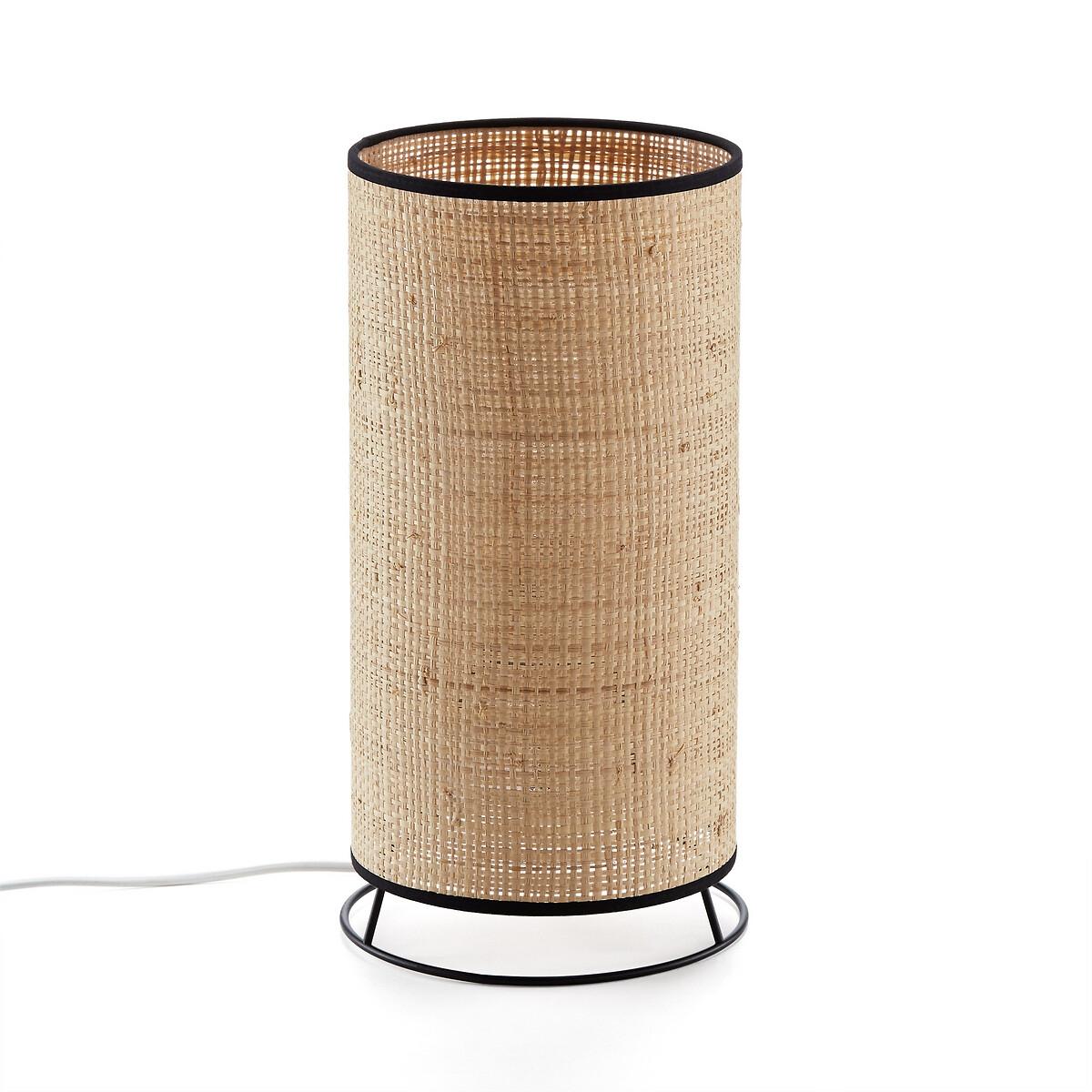 Лампа LaRedoute Настольная из рафии и металла Elysa единый размер бежевый лампа настольная из дерева и металла tinus