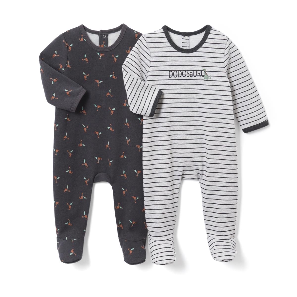 2 пижамы из мольтона с рисунком, 0 мес. - 3 лет