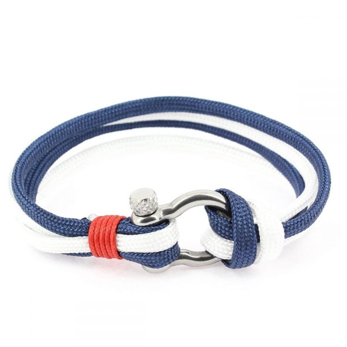 Bracelet fermoir manille lyre, navy et blanc