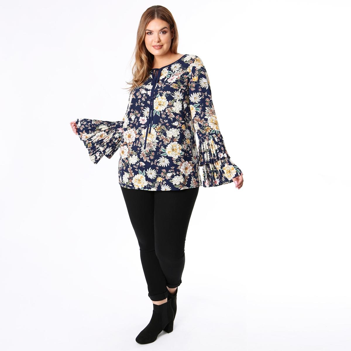 Блузка La Redoute С круглым вырезом цветочным рисунком и длинными рукавами 50 (FR) - 56 (RUS) другие блузка с круглым вырезом графическим рисунком и длинными рукавами