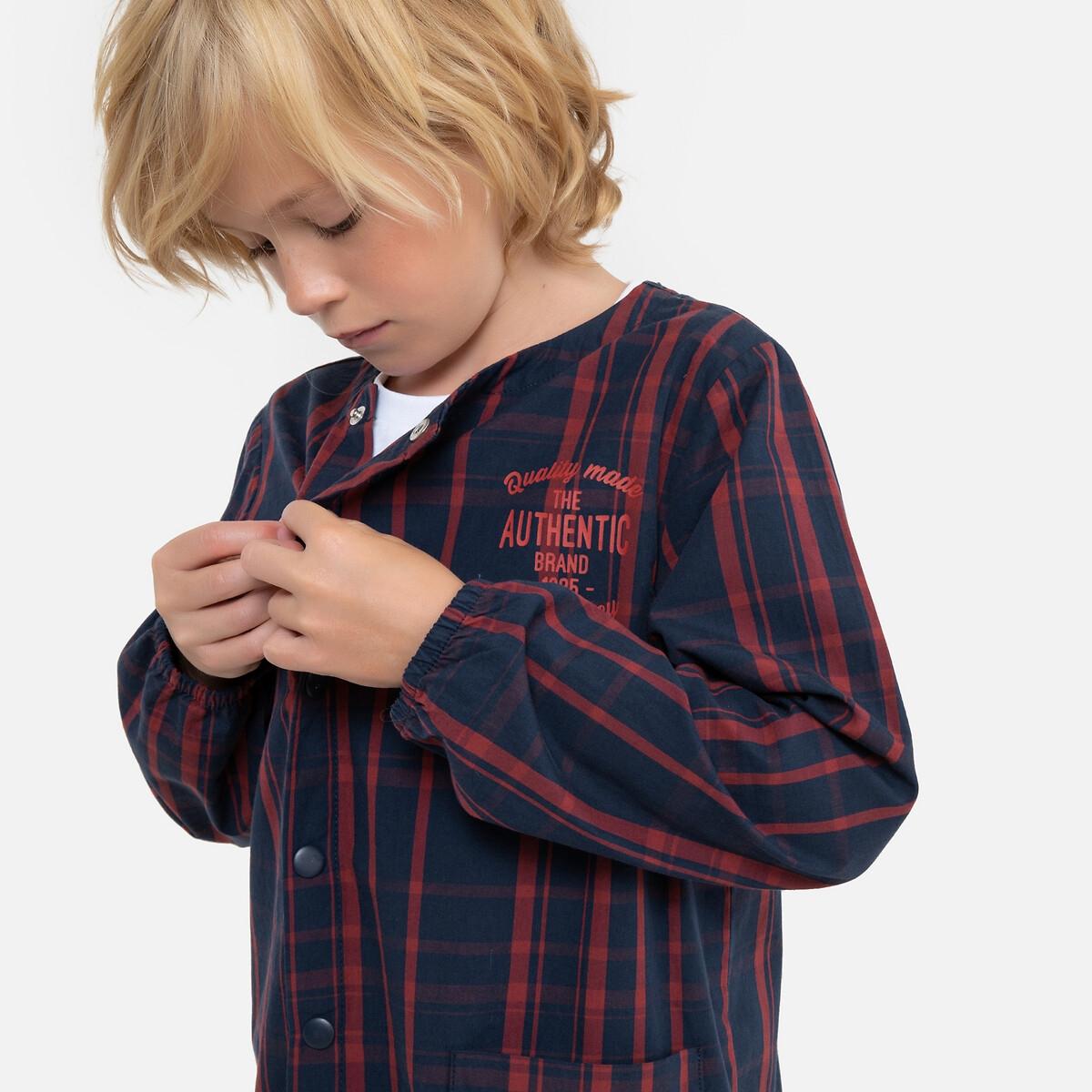 Блуза LaRedoute С длинными рукавами в клетку 3-12 лет 4 года - 102 см синий блузка laredoute с длинными рукавами и отделкой макраме 3 12 лет 4 года 102 см бежевый