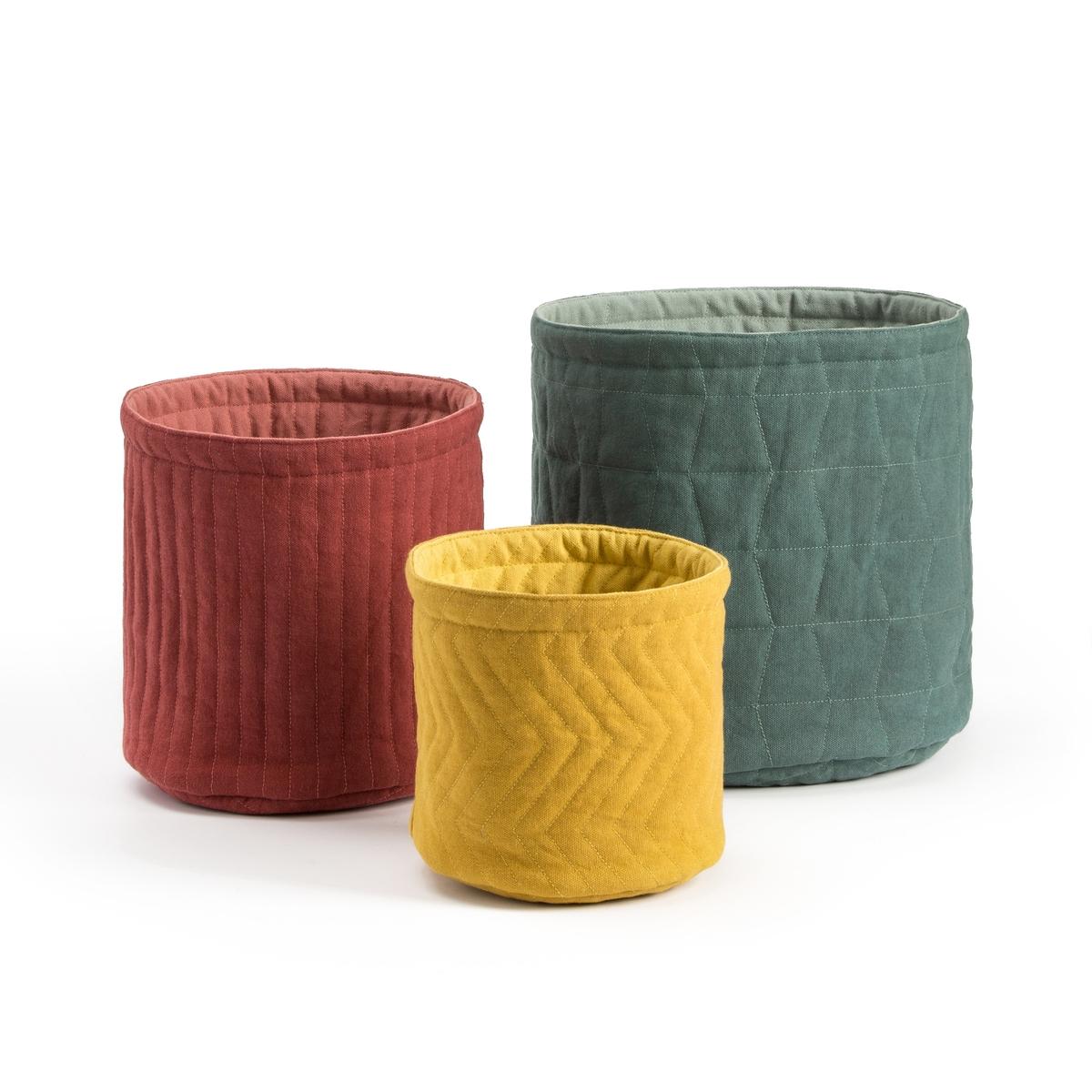 корзины составные из водного гиацинта 3 шт Комплект из 3 корзин из La Redoute Хлопка двухсторонних Issa единый размер разноцветный