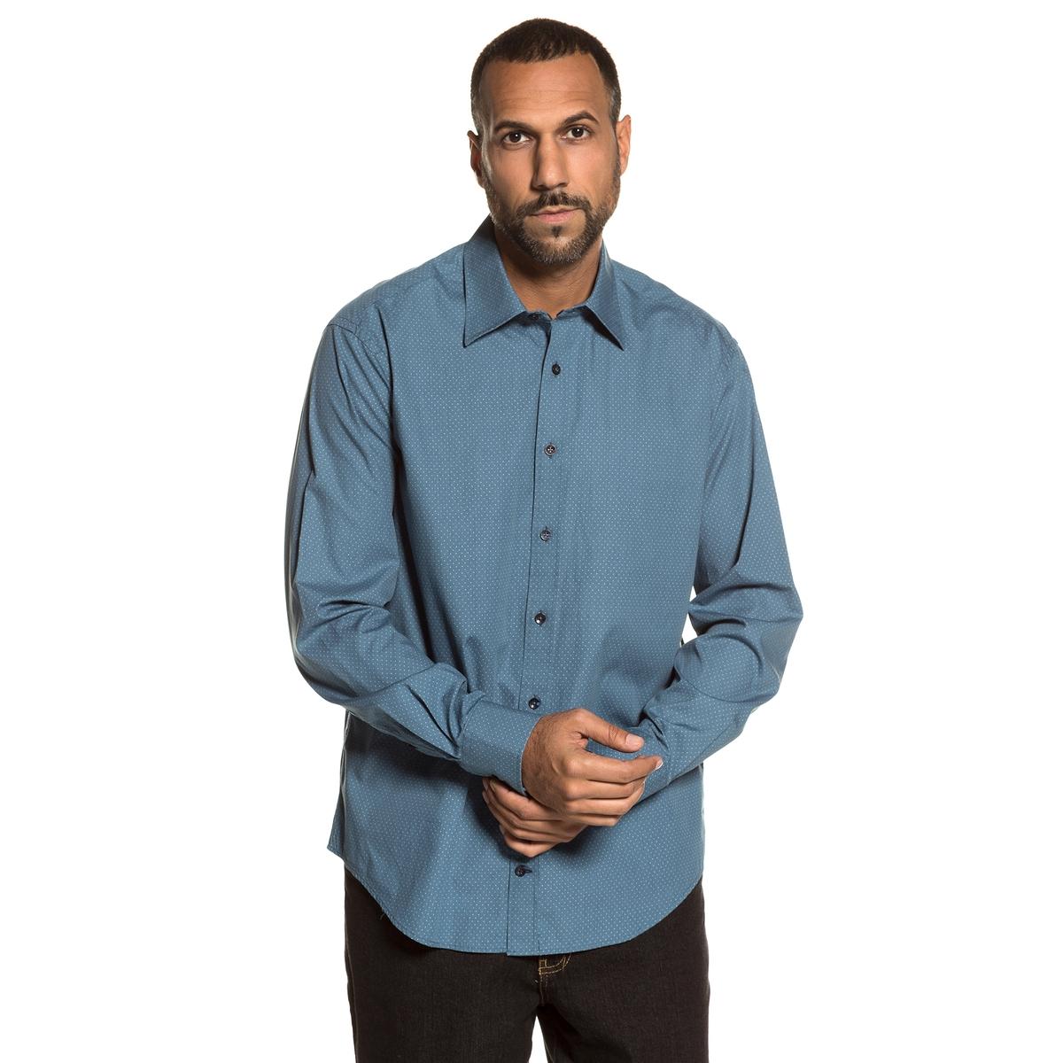 Рубашка с рисунком и длинными рукавамиОписание:Детали •  Длинные рукава •  Прямой покрой  •  Классический воротник •  Рисунок-принтСостав и уход •  100% хлопок •  Следуйте советам по уходу, указанным на этикеткеТовар из коллекции больших размеров<br><br>Цвет: синий потертый