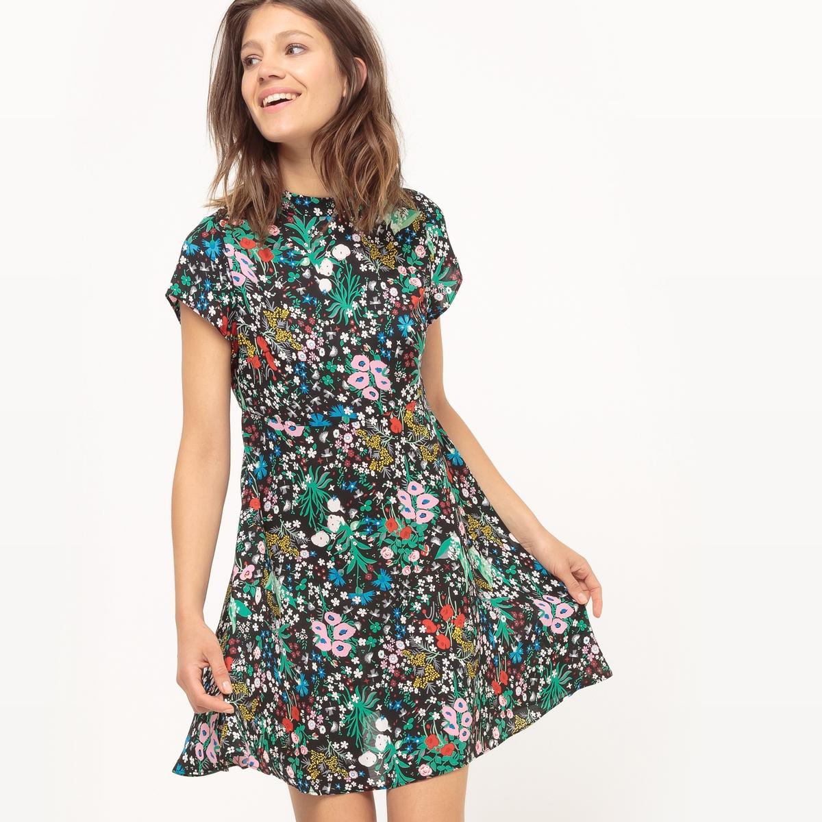 Платье с короткими рукавами и цветочным рисункомМатериал : 100% полиэстер  Длина рукава : Короткие рукава  Форма воротника : Круглый вырез Покрой платья : расклешенное платье. Рисунок : цветочный. Особенности : Кружево  Длина платья : короткое.<br><br>Цвет: цветочный рисунок<br>Размер: XS