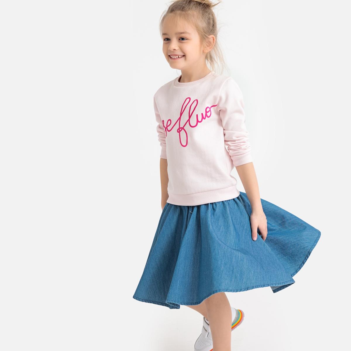 Юбка La Redoute Расклешенная джинсовая 8 лет - 126 см синий юбка la redoute расклешенная с принтом 8 лет 126 см другие